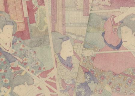 Lady Iwafuji and Ohatsu Practicing Martial Arts, 1887 by Kunisada III (1848 - 1920)