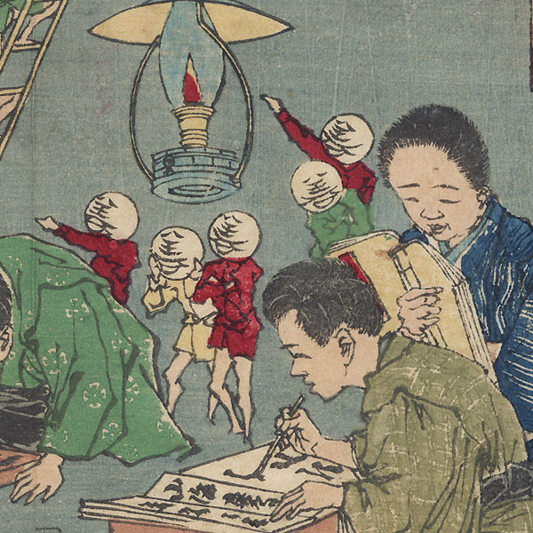 Apprentices Who Follow Their Master's Advice Working by Lamplight by Yoshitoshi (1839 - 1892)