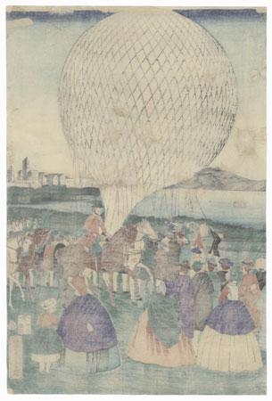 Balloon Ascension in America, 1865 by Yoshitora (active circa 1840 - 1880)