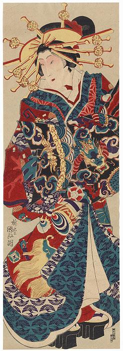 Courtesan with a Dragon Obi Kakemono by Kunisada III (1848 - 1920)