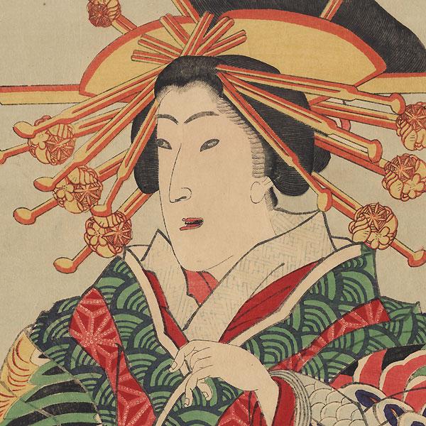 Courtesan in a Phoenix Kimono Kakemono by Kunisada III (1848 - 1920)