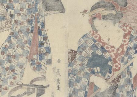 Beauty with an Umbrella Kakemono, circa 1843 - 1845 by Eisen (1790 - 1848)