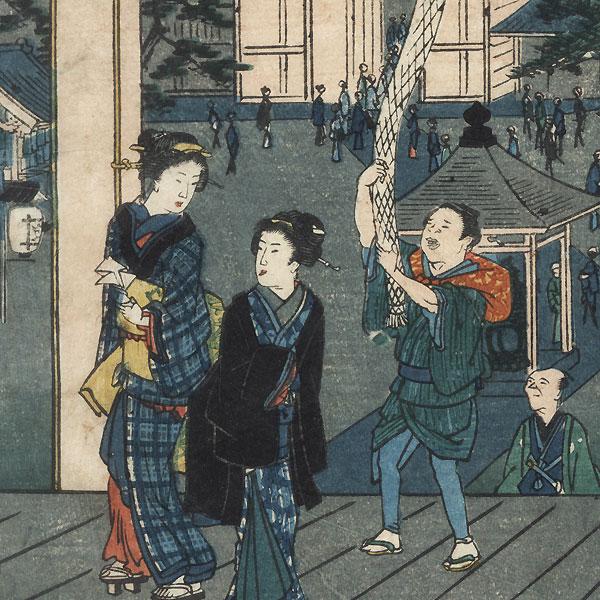 Myoho Temple at Horinouchi by Hiroshige II (1826 - 1869)