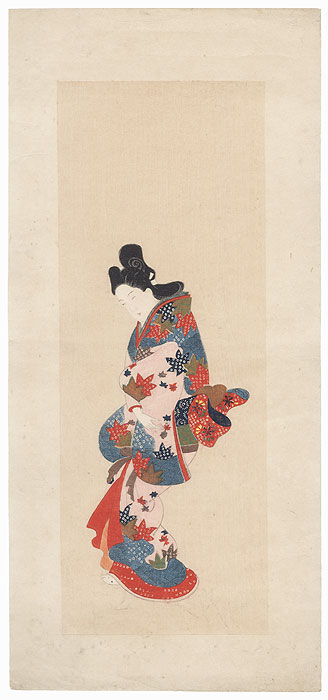 Beauty in a Maple Leaf Kimono by Edo era artist (unsigned)