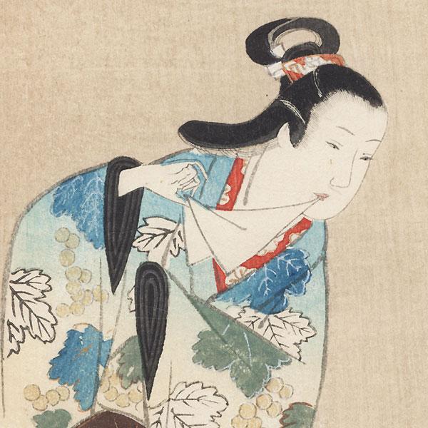 Beauty in a Grapevine Kimono by Edo era artist (not read)