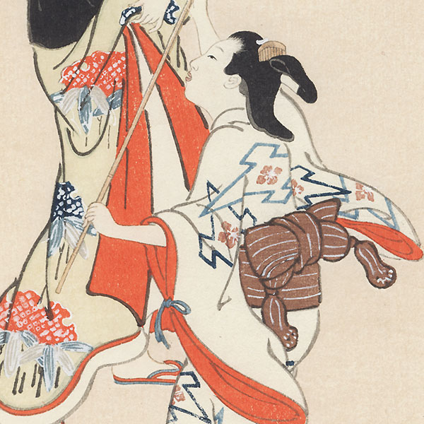 Beauty and Girl Catching Fireflies by Edo era artist (not read)