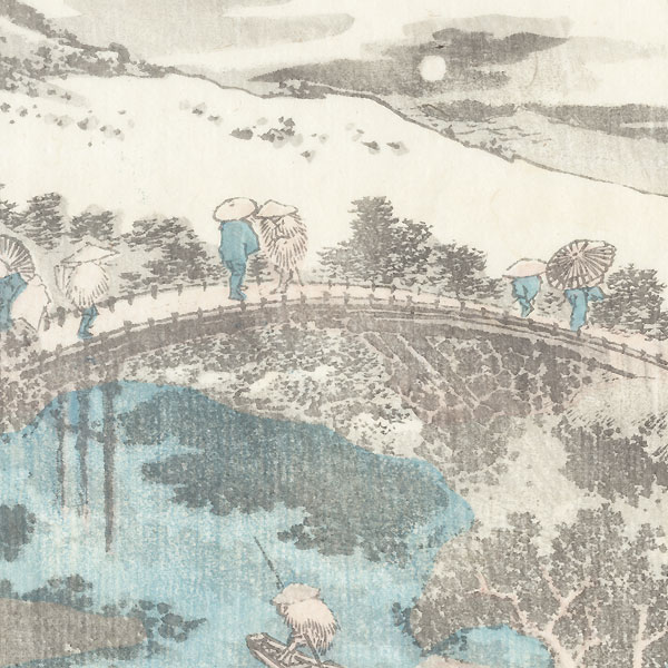 Crossing a Bridge by Moonlight by Hokusai (1760 - 1849)