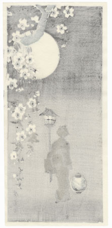 Beauty Walking by Moonlight by Hiroshige IV (active circa 1920s - 1930s)