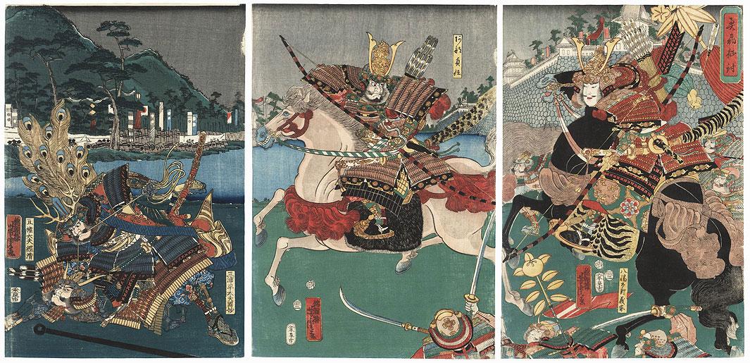 Taira no Kunitae Attacking Fujiwara no Tsunekiyo, 1856 by Yoshitora (active circa 1840 - 1880)