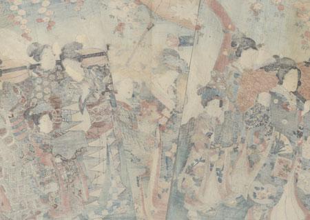 Cherry-blossom Viewing Procession, 1847 - 1852 by Toyokuni III/Kunisada (1786 - 1864)