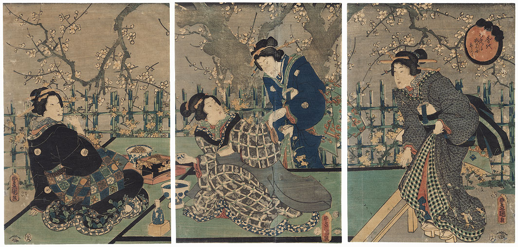 The Second Month: Viewing Plum Blossoms, 1854 by Toyokuni III/Kunisada (1786 - 1864)