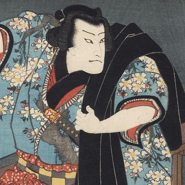 Nakamura Fukusuke I as Hanaregoma Chokichi and Ichikawa Ichizo III as Nuregami Chogoro, 1857 by Toyokuni III/Kunisada (1786 - 1864)