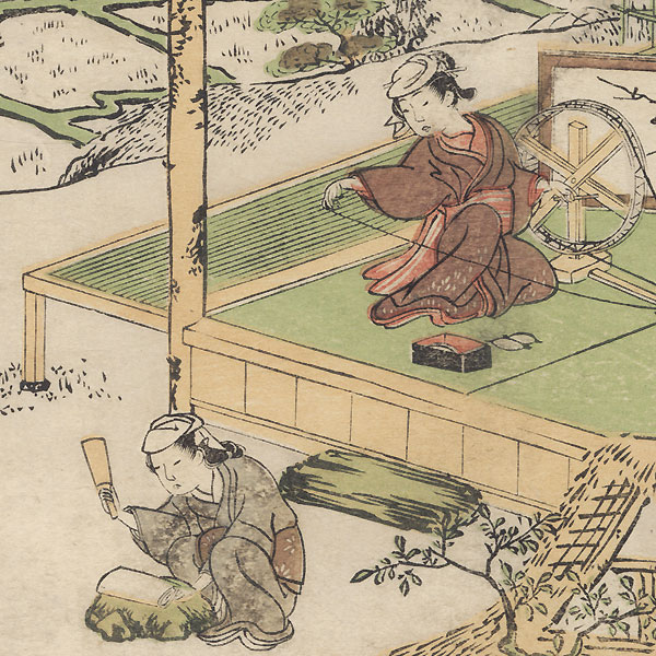 Beauties Spinning and Pounding Cloth, circa 1770 - 1773 by Shunsho (1726 - 1792)