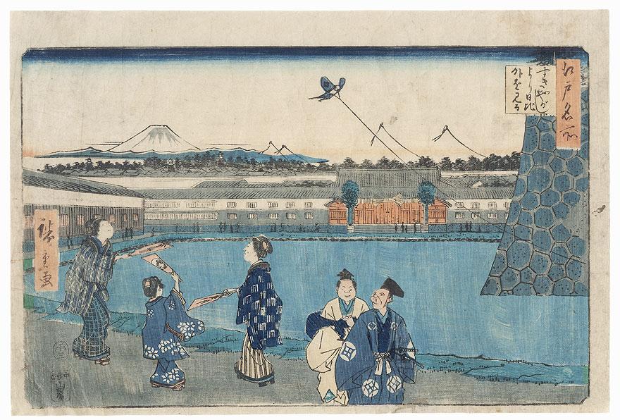 Outside Hibiya, Seen from Sukiya-gashi, 1858 by Hiroshige (1797 - 1858)