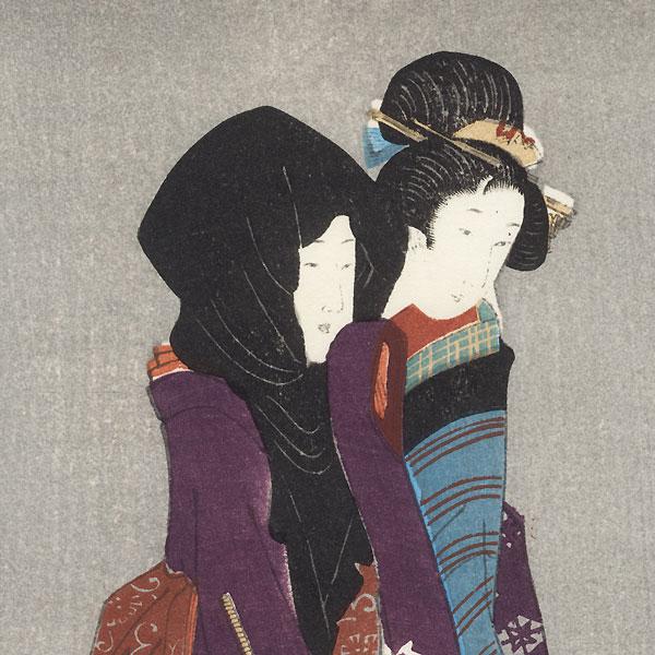 Beauties on an Evening Stroll by Shin-hanga & Modern artist (unsigned)