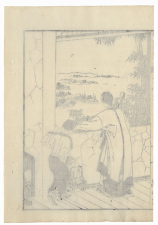 Looking out a Window, 1833 by Hokusai (1760 - 1849)