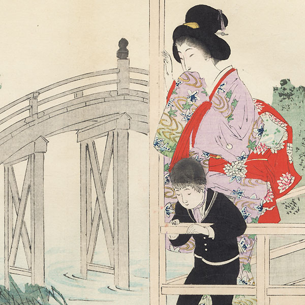 Koi and Wisteria at Kameido Shrine by Miyagawa Shuntei (1873 - 1914)