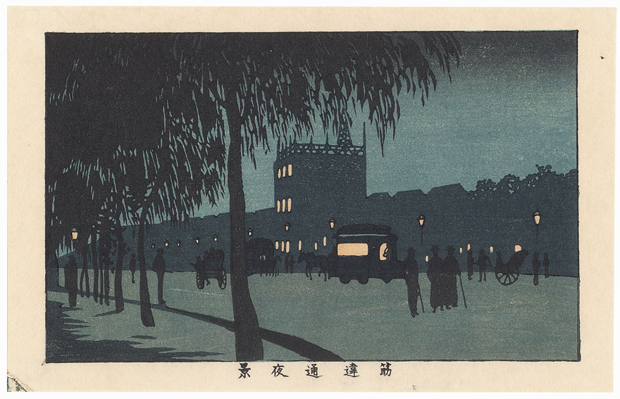 Night View of Sujikai Street by Yasuji Inoue (1864 - 1889)