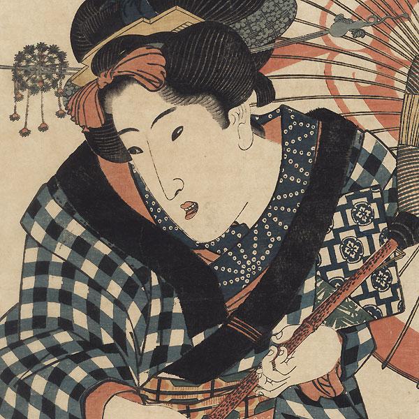 Beauty with an Umbrella Kakemono by Toyokuni III/Kunisada (1786 - 1864)