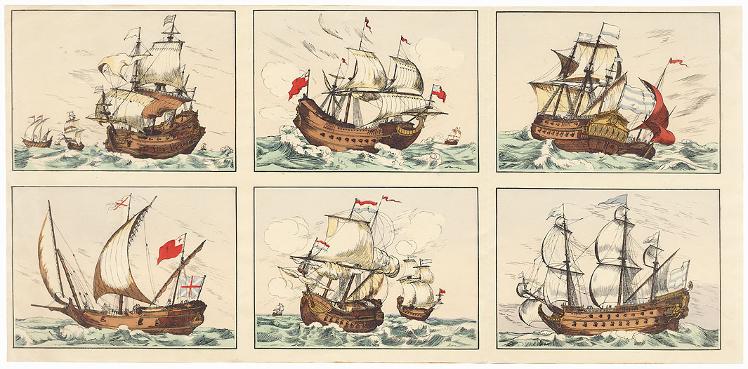Foreign Sailing Ships by Edo era artist (unsigned)