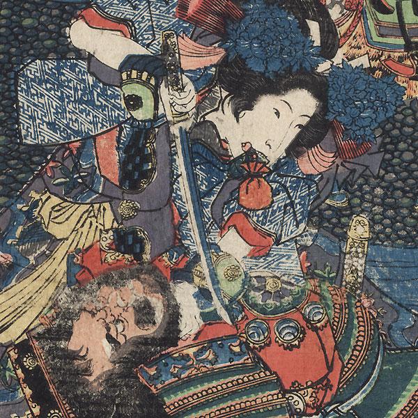 The First Battle at the Erecting of Yoshinaka's Standard in Shinano, circa 1834 by Kuniyoshi (1797 - 1861)