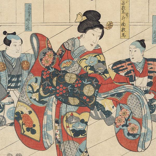 Scene from akagi Oriemon budo jitsu roku, 1848 by Kuniyoshi (1797 - 1861)
