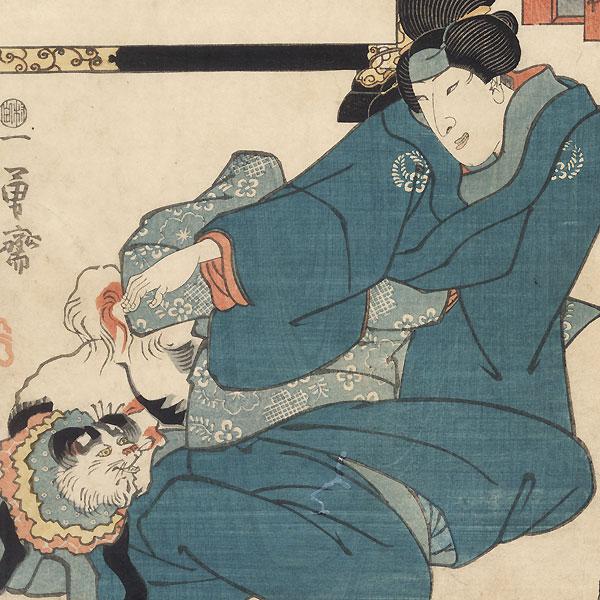 Scene from O megumi niuruo Iwafuji, 1849 by Kuniyoshi (1797 - 1861)