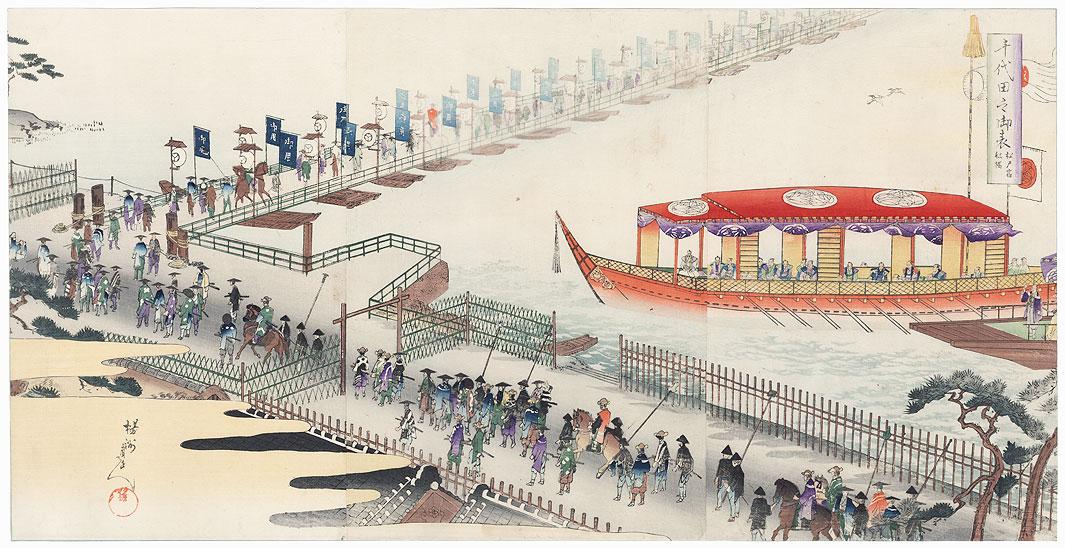 Pontoon Bridge at Matsudo by Chikanobu (1838 - 1912)