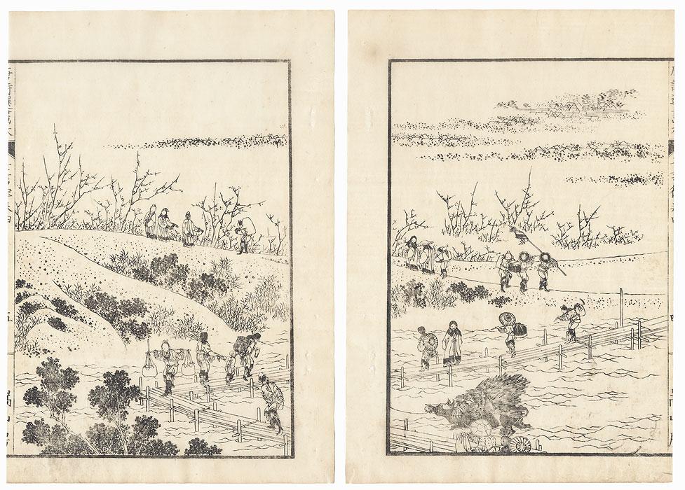 Crossing a Plank Bridge, 1836 by Hokusai (1760 - 1849)