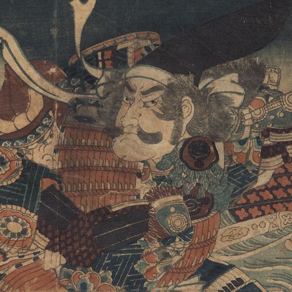 Satsuma no kami Tadanori and Okabe Rokuyata, 1865 by Yoshitoshi (1839 - 1892)