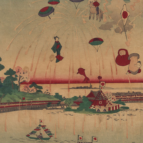 Picture of the Great Horse Races at Ueno Park's Shinobazu Pond, 1885 by Yoshitoshi (1839 - 1892)