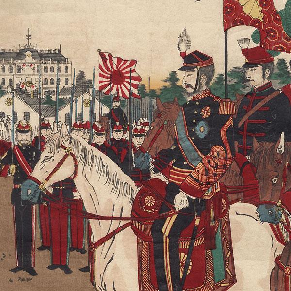 Imperial Army Ceremony by Meiji era artist (not read)