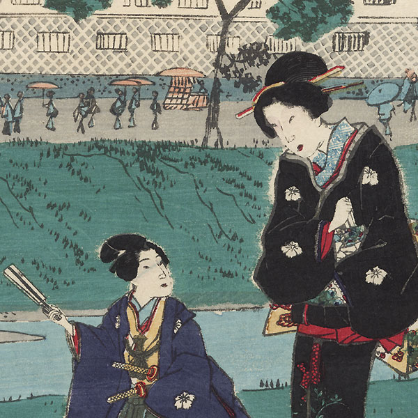 The Fire Tower at Akabane by Toyokuni III/Kunisada (1786 - 1864) and Hiroshige II (1826 - 1869)