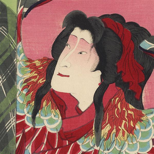 Monkey and Rooster: Sawamura Tossho as Shinsaku and Sawamura Tanosuke as the Daughter Osan and 1869 by Kunichika (1835 - 1900)
