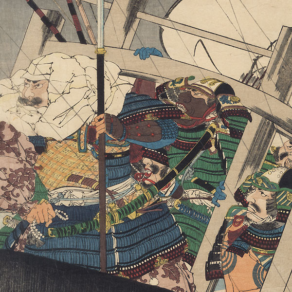 Yoshitsune and His Men Encountering Severe Winds at Daimotsu Bay, circa 1897 by Shusei (active circa 1890s)