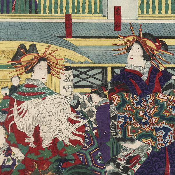 Courtesans of the Shinagawa-ya by Kuniteru II (1829 - 1874)