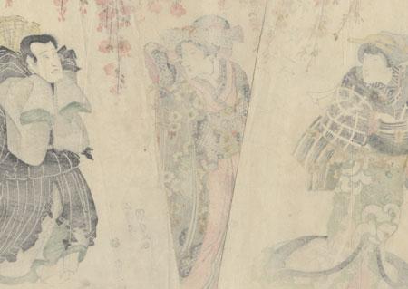 Princess Sakura and Nakamura Shikan as the Priest Seigen by Toyokuni III/Kunisada (1786 - 1864)
