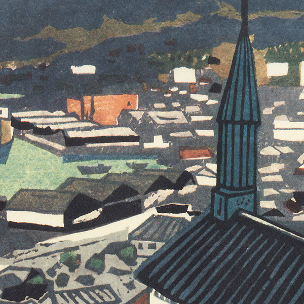 City Rooftops by Shin-hanga & Modern artist (unsigned)