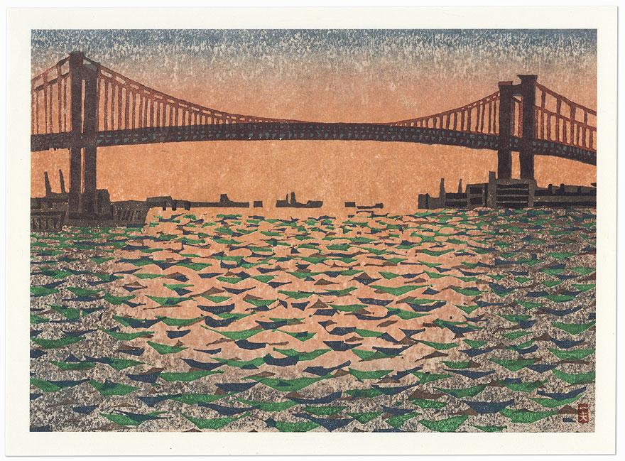 Harbor and Bridge at Sunset by Shin-hanga & Modern artist (not read)