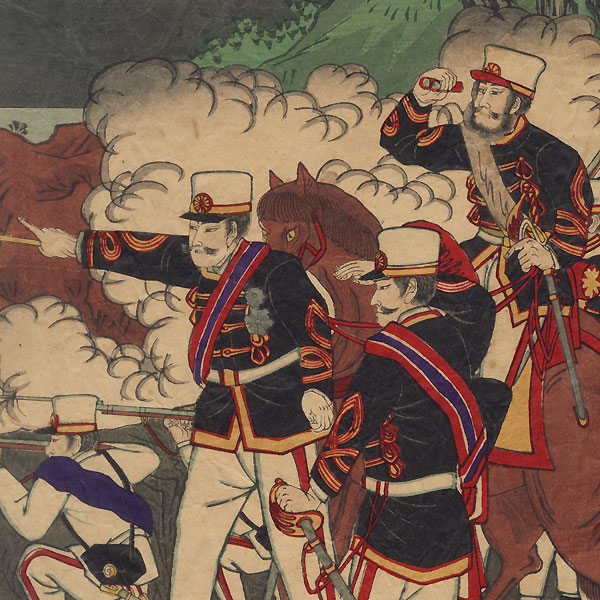 Infantry Attack and Naval Battle, 1894 by Meiji era artist (unsigned)