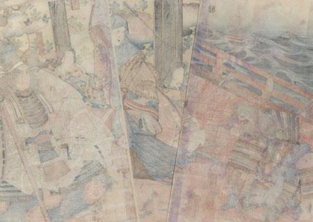 Mitsutoki Reporting to Tomomori at the Battle of Dan-no-ura, circa 1842 - 1843 by Kuniyoshi (1797 - 1861)