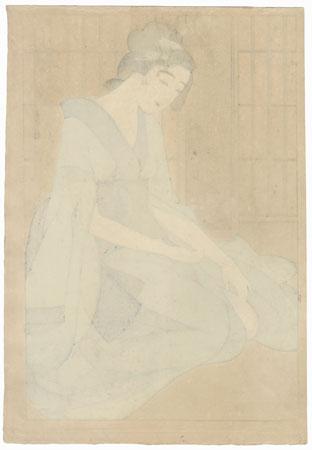 Beauty in a Blue Kimono (Figure 5) by Segawa Tsuyahisa (1902 - ?)