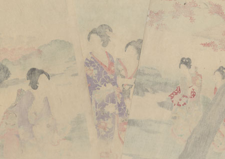 Viewing Maple Leaves by Chikanobu (1838 - 1912)