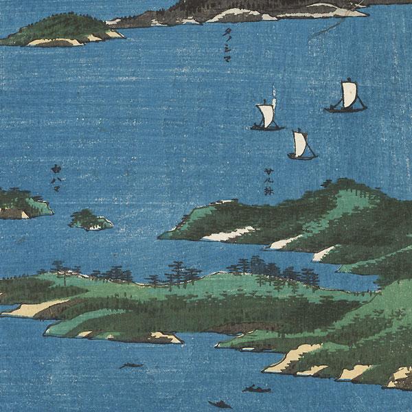 Mutsu Province, View of Matsushima, Sight Map from Mount Tomi, 1853 by Hiroshige (1797 - 1858)