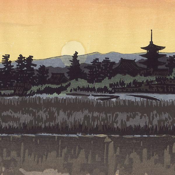Sunset at Ikaruga, Nara, 1968 by Seiichiro Konishi (1919 - ?)