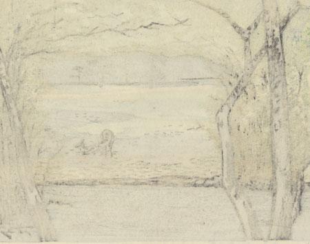 View of Tobihinu in Nara, 1966 by Seiichiro Konishi (1919 - ?)