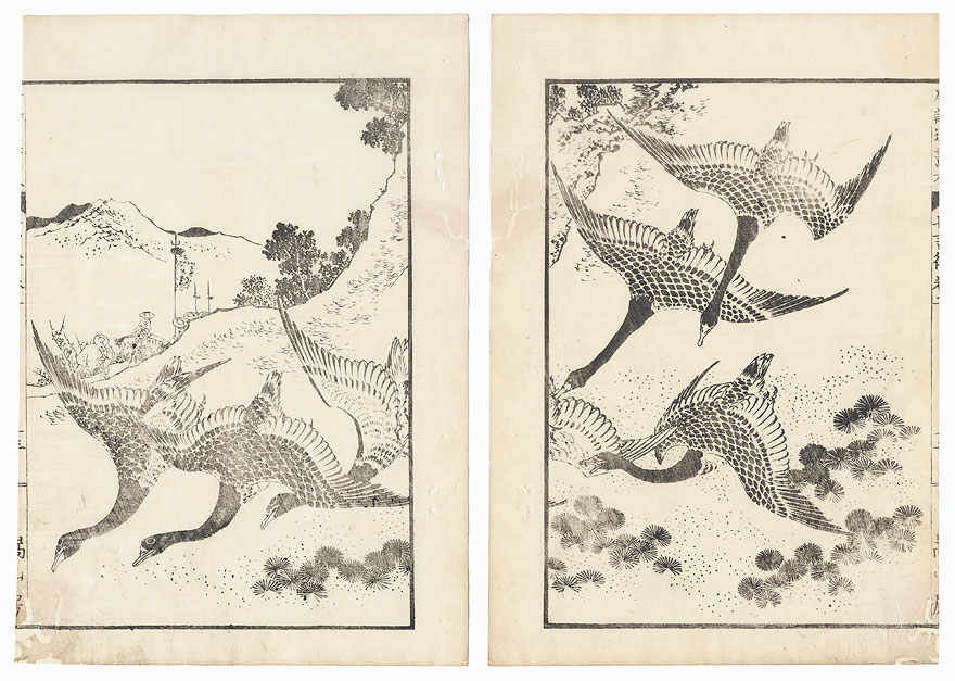 Descending Geese, 1836 by Hokusai (1760 - 1849)