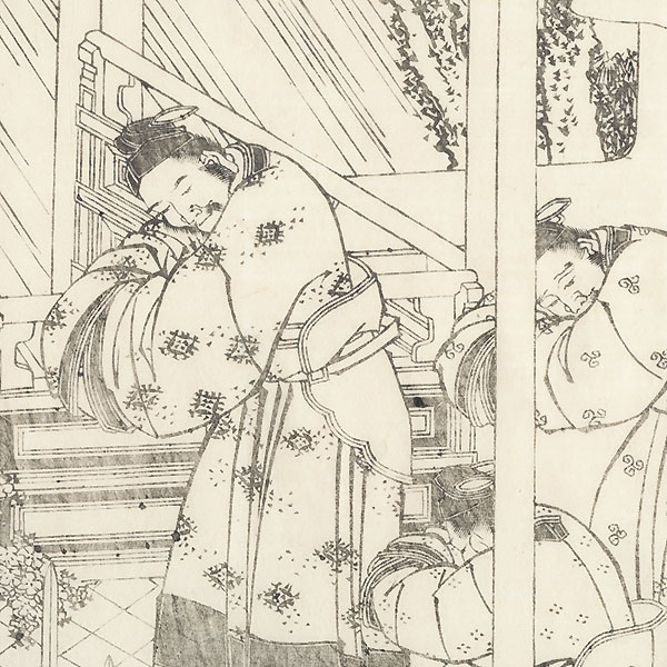Greeting on a Rainy Day, 1836 by Hokusai (1760 - 1849)