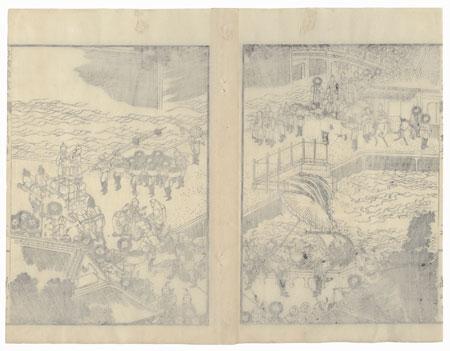 Street Scene, 1836 by Hokusai (1760 - 1849)