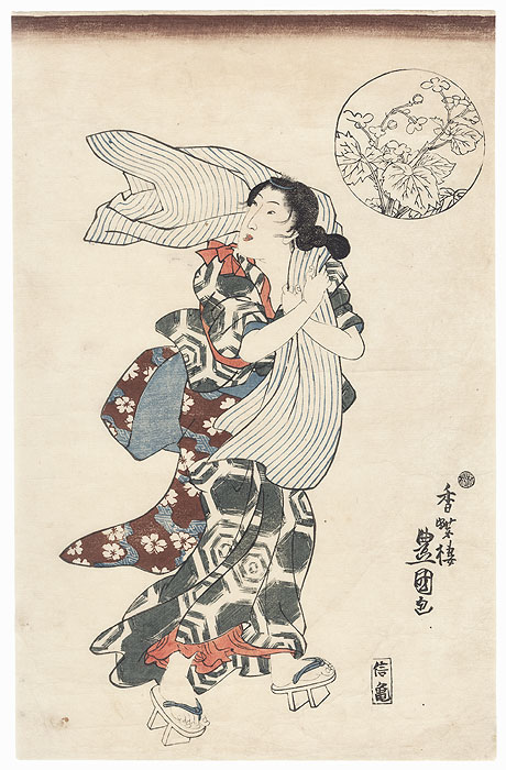 Beauty on a Windy Day by Toyokuni III/Kunisada (1786 - 1864)
